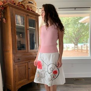 Talbots White Embroidered Skirt, Size 2